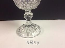 Antique Vintage Cut Lead Crystal Pedestal Etched Candy Nut Bowl Dish with Lid