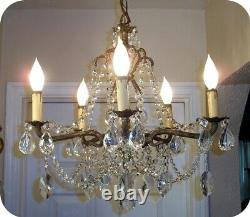Antique Vintage French Brass 5 Arm Cut Lead Crystal Chandelier