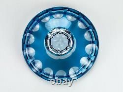 Aquamarine Panel Cut to Clear Covered Bowl, Vintage Turquoise Blue Dish 6 1/2