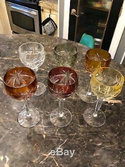 Authentic 6 Vintage Lead Crystal Cut Glass Wine Goblets @ 7 1/8 High