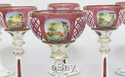 BOHEMIAN WHITE Set of 6- OVERLAY CUT TO ROSE ENAMEL GOLD CRYSTAL CORDIAL GLASS