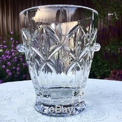 BOHEMIA 24% Lead Crystal Cut Glass Wine Cooler Ice Champagne Bucket with Handles