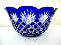 BOHEMIA Vintage Bohemian CUT TO CLEAR Lead Crystal Blue Bowl HUNGARY