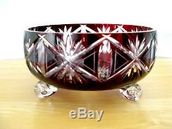 BOHEMIA Vintage Bohemian CUT TO CLEAR Lead Crystal Red Footed Bowl HUNGARY