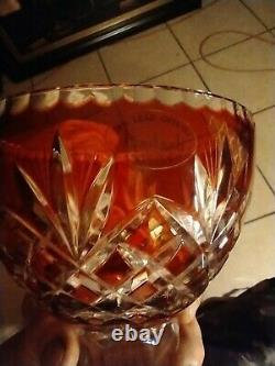 Badash Red Crystal Cut to Clear Bowl/Compote Center Piece / 24% Lead Crystal
