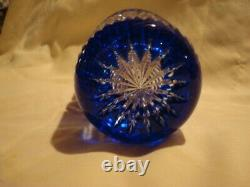 Bohemian Cased Cut to Clear Cobalt Blue Lead Crystal Vase 8