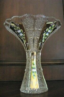 Bohemian Czech Crystal Gold 10 Tall Vase Hand Cut Queen Lace 24% Lead Glass