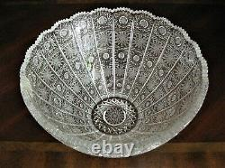 Bohemian Czech Vintage Crystal 10 Round Bowl Hand Cut Queen Lace 24% Lead Glass
