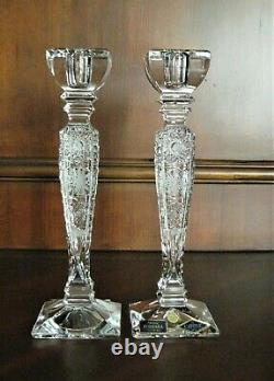 Bohemian Czech Vintage Crystal 10 Tall Candle Stick Pair Hand Cut 24% Lead