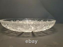 Bohemian Czech Vintage Crystal 12 Round Low Bowl Hand Cut Queen Lace Lead Glass
