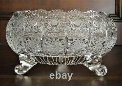Bohemian Czech Vintage Crystal 8 Footed Bowl Hand Cut Queen Lace 24% Lead Glass