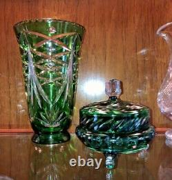 Bohemian Emerald Green Cut Lead Crystal Glass Vase with DOTS 9.5 tall