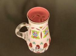 Bohemian Hand Painted White Enamel Cut to Lead Crystal Glass Pitcher Flowers 70s