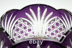 Bohemian Purple Cut to Clear Leaded Crystal Bowl (5.25 High x 8.5 Wide)