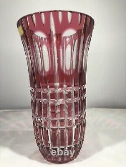 Bohemian West Germany Hand Cut Lead Crystal Cranberry Glass Vase