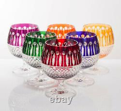 Box of 6 Hand Cut 24% Lead Brandy Crystal Glasses 250ml NEW COLOR COLLECTION