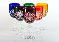 Box of 6 Hand Cut 24% Lead Large Wine Crystal Glasses 240ml NEW COLOR COLLECTION