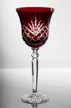 Box of 6 Hand Cut 24% Lead Large Wine Crystal Glasses 280ml NEW COLOR