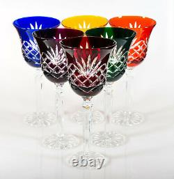 Box of 6 Hand Cut 24% Lead Large Wine Crystal Glasses 280ml NEW COLOR COLLECTION