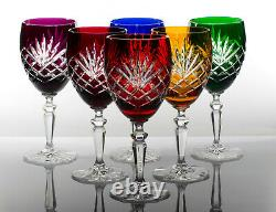 Box of 6 Hand Cut 24% Lead WINE Crystal Glasses 20cl NEW COLLECTION GIFT