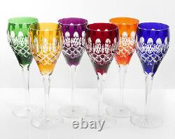 Box of 6 Hand Cut 24% Lead WINE Crystal Glasses 320ml NEW COLOR COLLECTION