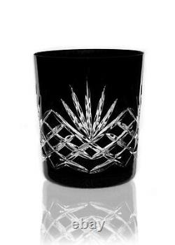 Box of 6 Hand Cut 24% Lead Whisky Crystal Glasses 280ml BLACK EDITION GIFT