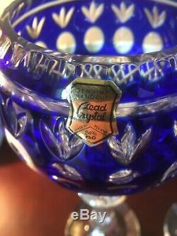 COBALT ROYAL BLUE Wine Glass Goblet Hock CUT TO CLEAR 24% Lead CRYSTAL Poland