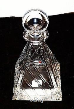 COLLE Low Cut Pyramid Decanter Bottle Lead Crystal Italy 10in