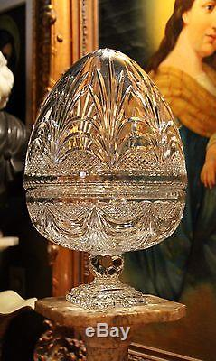COLOSSAL Hand Made 24% Lead Cut Crystal Egg Bowl from France (19 H x 11 W)
