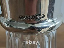 Carr's of Sheffield Ships Decanter Sterling Silver Linear Cut 24% Lead Crystal
