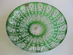 Case Crystal, Color cut to clear, 14 Green Platter, German Crystal 24% Lead