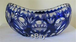 Case Crystal, Color cut to clear, 7 Blue Oval Bowl, German Crystal 24% Lead