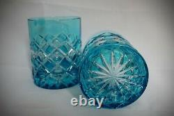 Cased Crystal Glass 2 Whiskey Tumblers Cut To Clear Blue Czech Bohemian Leaded