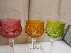 Castle HAND CUT TO CLEAR Lead Crystal Set Of 5 Wine Glasses Western Germany