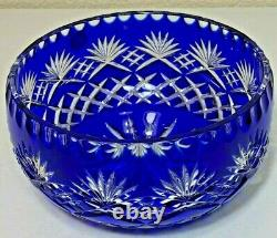 Cobalt Blue Bowl Cut to Clear Lead Crystal Made in Poland Crystal Clear