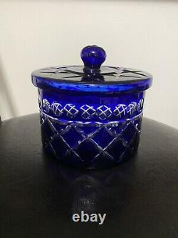 Cobalt Blue Cut to Clear Lead Crystal Covered Candy Dish Or Cookies Jar