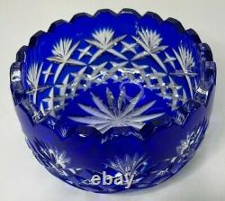 Crystal Clear Lead Crystal Cobalt Blue Cut To Clear Bowl Dish Made In Poland