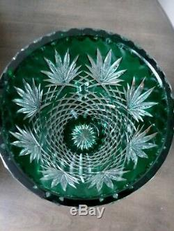 Crystal Vintage Collection Emerald Green Brilliant Cut Lead Crystal Glass Vase