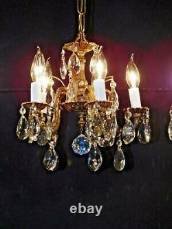 DARLINGEST Antique Petite French 5 Lite Cut Lead Crystal Chandelier (1 Avail.)