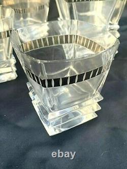DECO WHISKY Lead Crystal Cut Glass Sterling Silver 925 Decanter/ 6 Glasses RARE