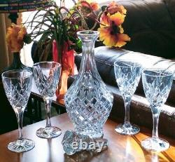 Decanter WithStopper Glasses Set of 5 Fine Diamond Cut Lead Crystal Bohemia