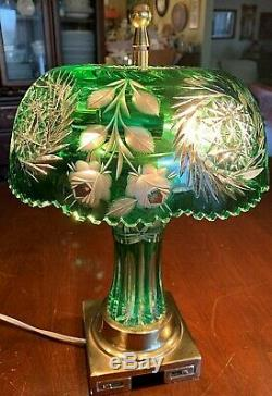 Desk Lamp Green Cut Lead Crystal Column&Shade-Brass Base-PRISTINE 15T- Signed