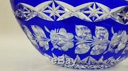ECHT Bleikristall Cobalt Blue Cut to Clear 12 24% Lead Crystal Oval Bowl MINT