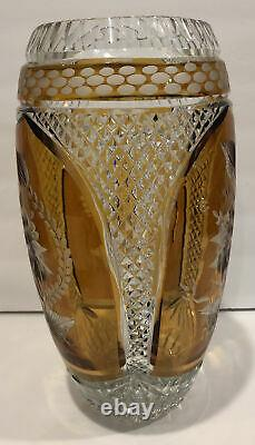 Exquisite Large 1930s Amber Bohemian Cut to Clear Etched Lead Crystal Vase