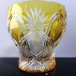 FABERGE CZAR GOLD YELLOW VOTIVE CANDLE HOLDER hand cut, signed