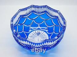 FABERGE Russian Cobalt Blue Pinecone Egg Cut Clear Lead Crystal Bowl Centerpiece