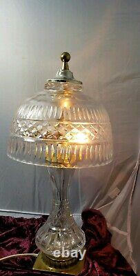 FAB Vintage CUT Lead Crystal Glass Lamp DIAMOND POINTS Brass Mounts and final