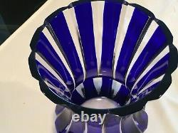 Faberge Parallele Lead Crystal Signed Cobalt Blue Cut to Clear Flared Glass Vase