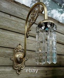 Fabulous Pair of Vintage Downlight Brass Wall Lights with LEAD Cut Crystals