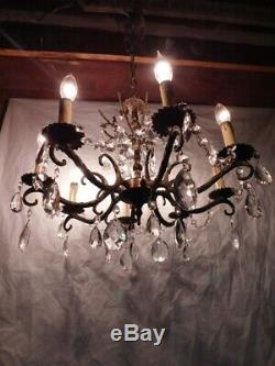 French bronze brass chandelier ceiling fixture lead cut crystals 8 arm antique